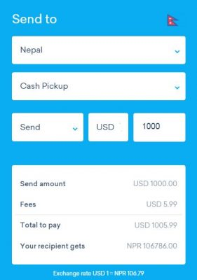 worldremit to send money to Nepal